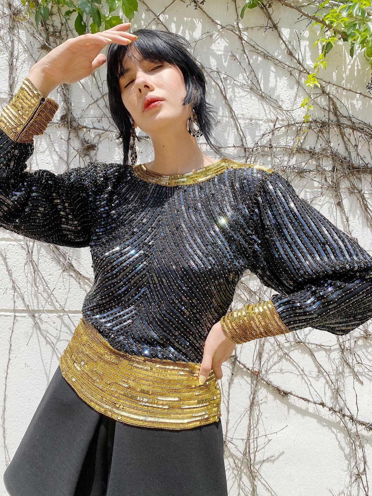 the Paris blouse vintage black and gold sequin top medium