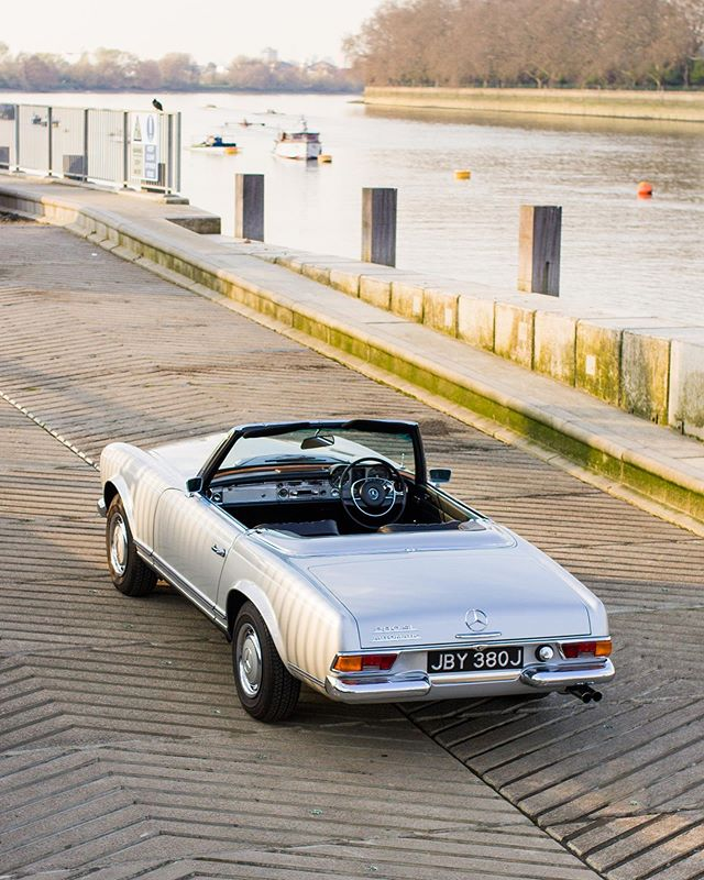 Our lovely 280SL down by the River Thames on a beautiful evening, what more can you ask for?! She's also for sale, all the info is on our website!
