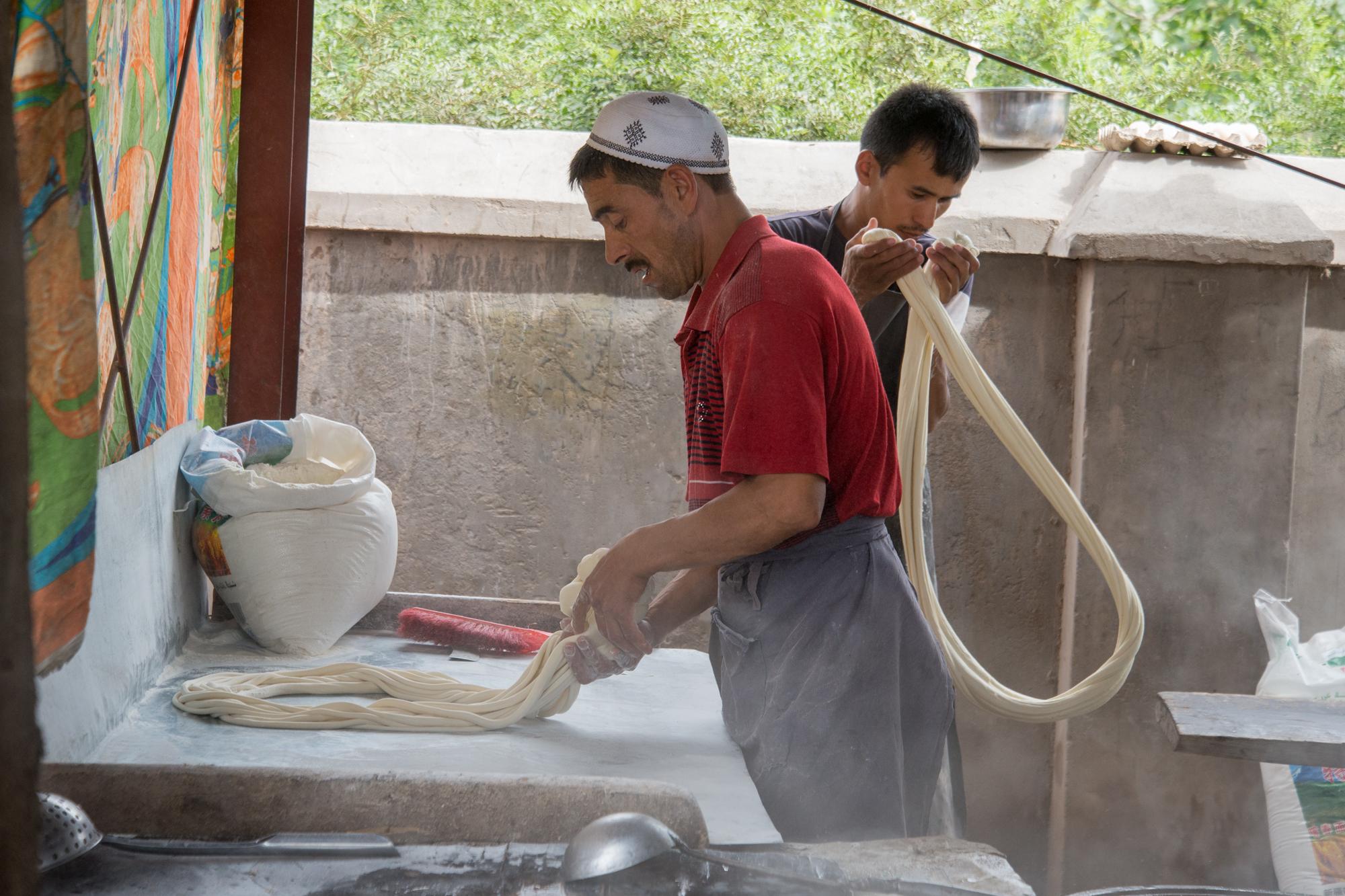 Making Uyghur laghman noodles