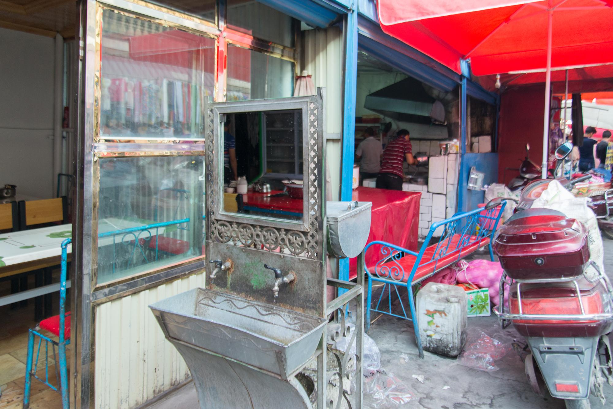 Streetside restaurant, Kashgar Bazaar