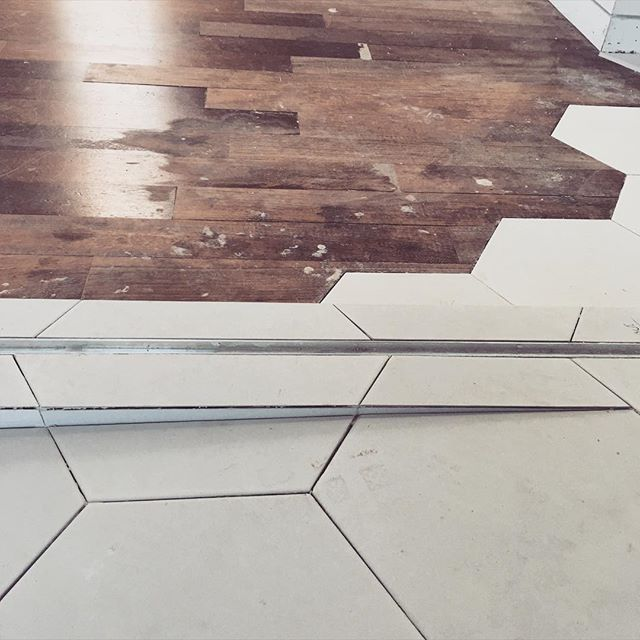 #hexagontile at bernal shower pan and include floor roughed in. #anayatile perfect layout #bL #buildingLab