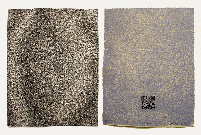 "Pareidolia Front (left): Photopolymer etching, Back (right): Sanded Silkscreen Approx. 9"" x 12"" Edition of 15 2014"