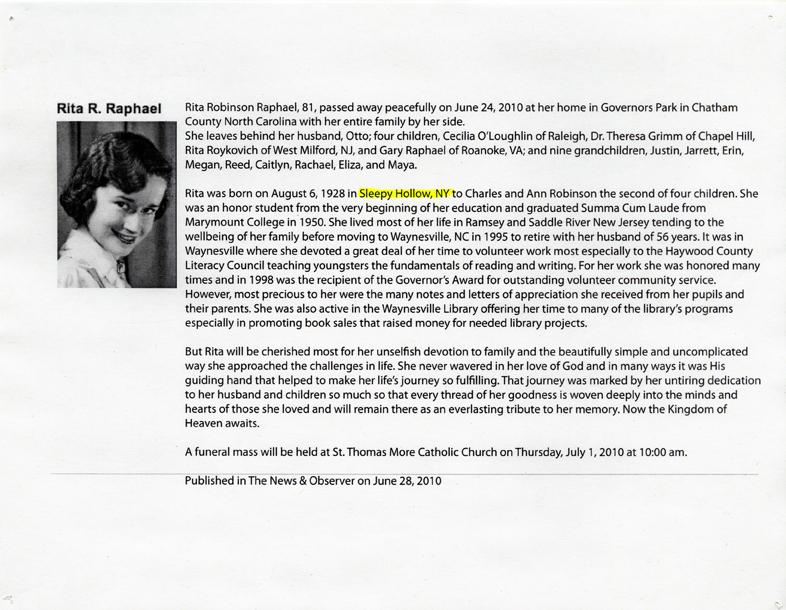 Artifact #10 - Copy of Artist's Grandmother's Obituary.