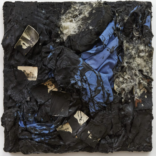 Derek Jarman:  Untitled (Clothes) , 1989, tar and mixed mediums on canvas, 18½ by 18½ by 3 inches