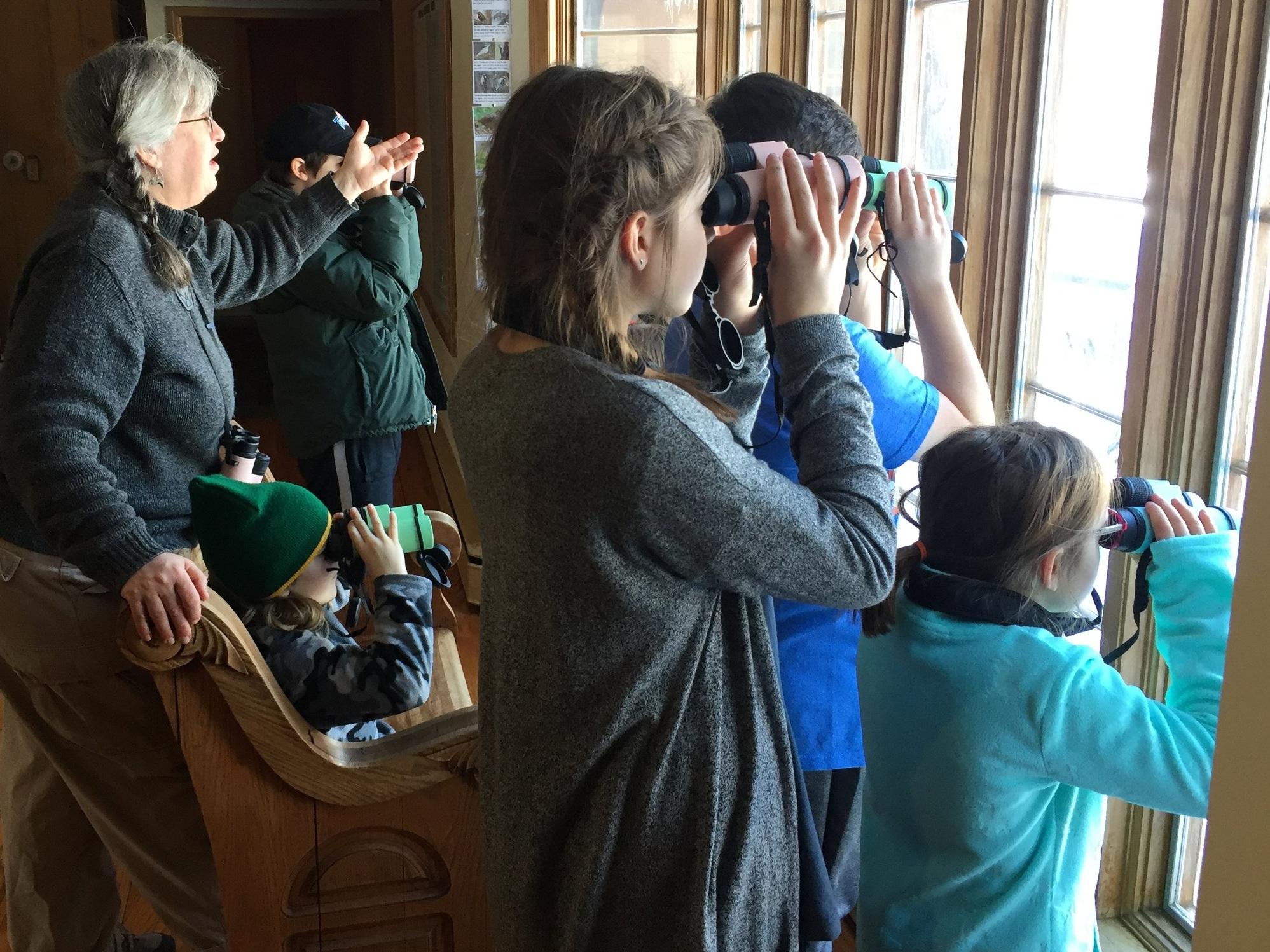 Ellen Rathbone educates visitors about the birds at Severson Dells.