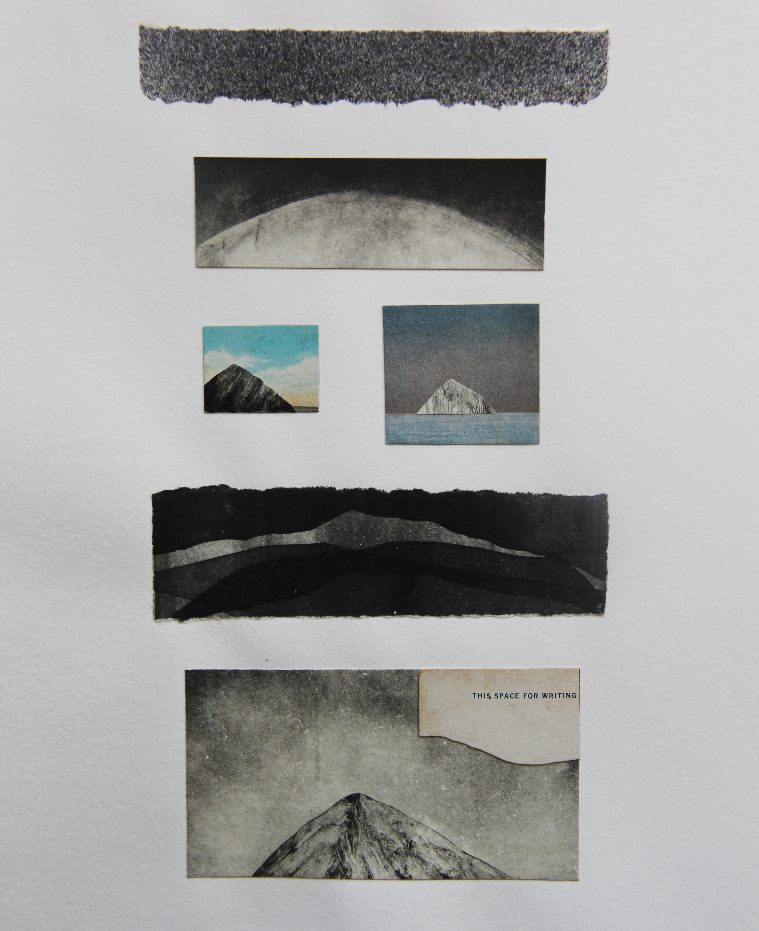 "Mono Lake, CA  Monotype Collage 11""x14"" 2015"