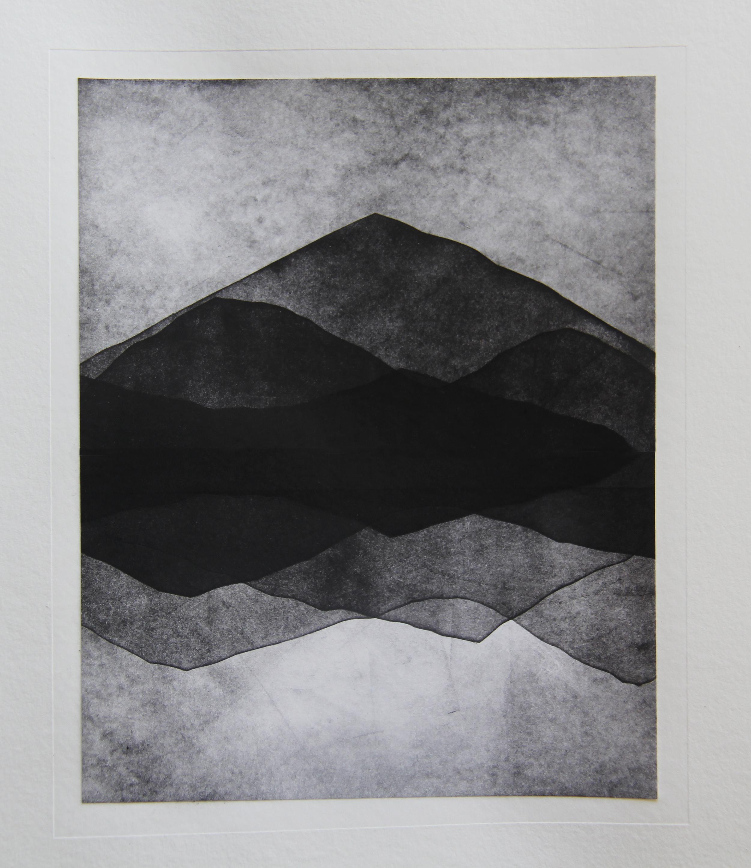 "Pyramid Peak, CA  Monotype 11""X14"" 2015"