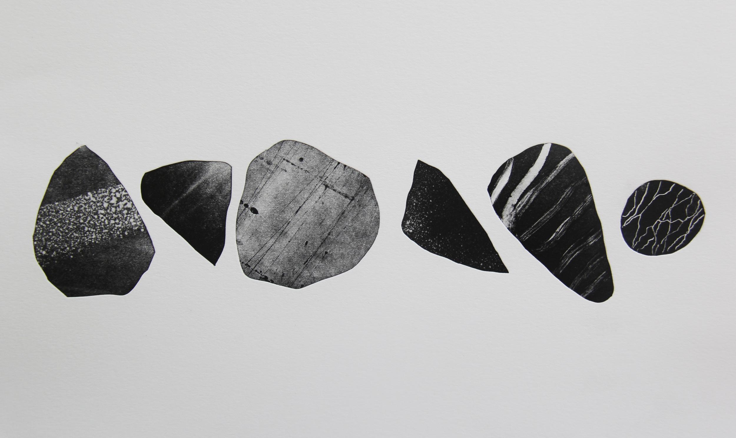 """Stones from Arrow Ridge  Monotype 11""""X14"""" 2015"""