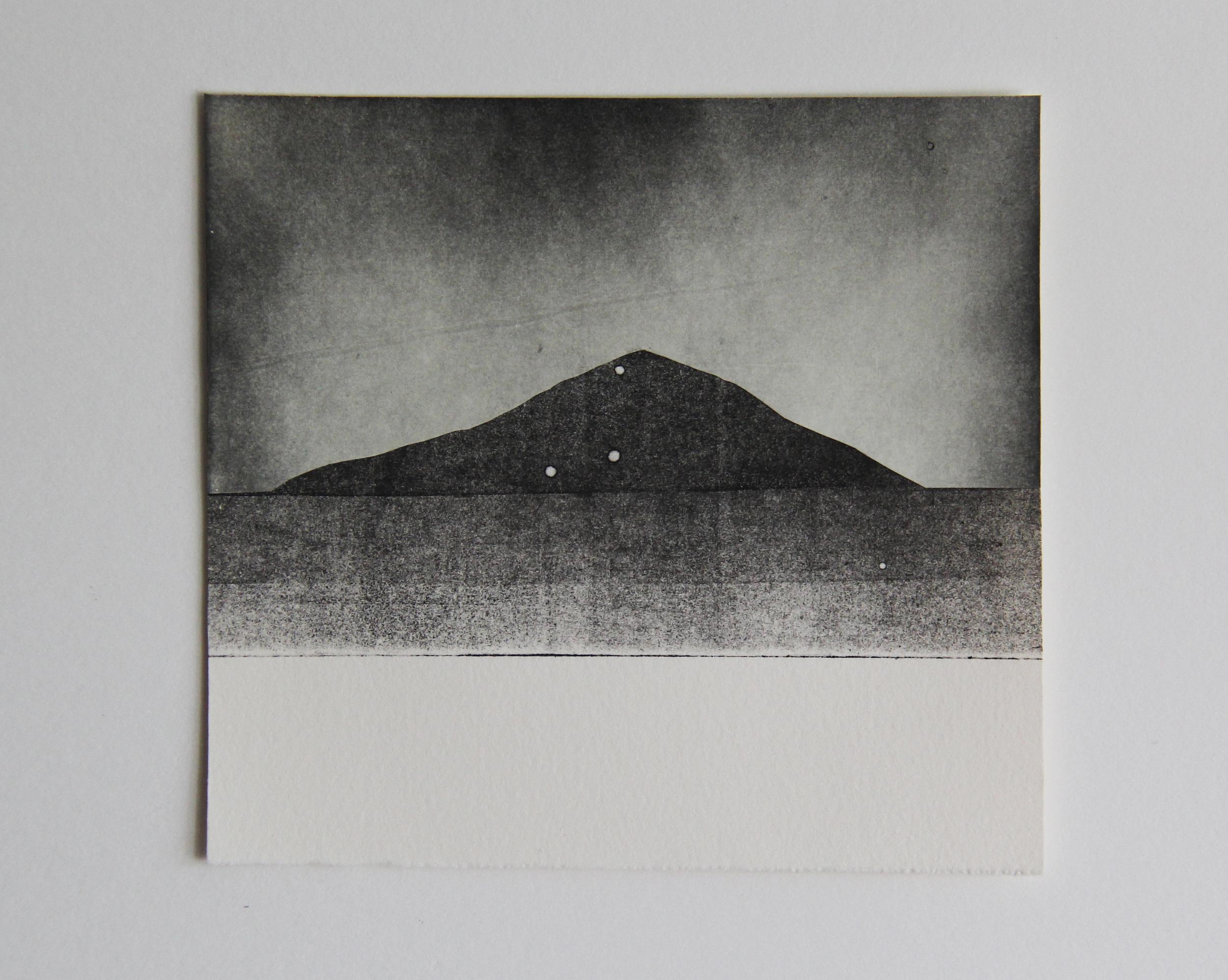 "Sawtooth Peak  Monotype 5""x6"" 2015"