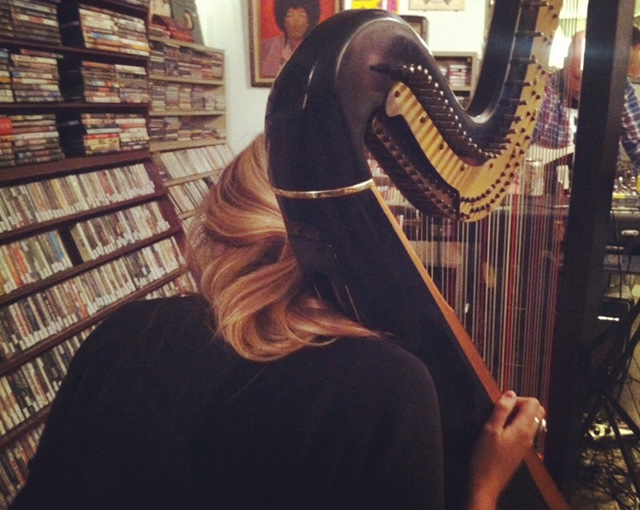 Mary Lattimore with her harp.  Photo by J. Makary.