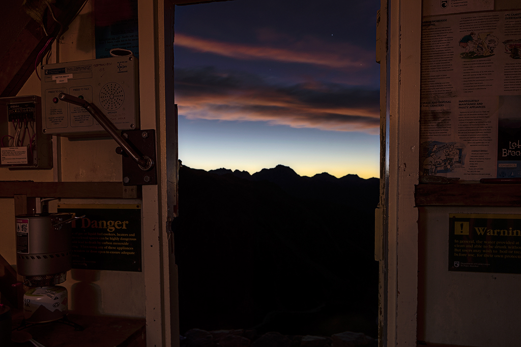 Sunrise from inside the hut