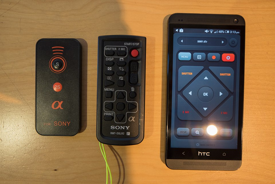 These are the three remotes I use.   Left - Cheap ebay IR remote /  Middle - Sony IR remote /  Right - HTC One Smartphone with a built in IR blaster and custom remote app.