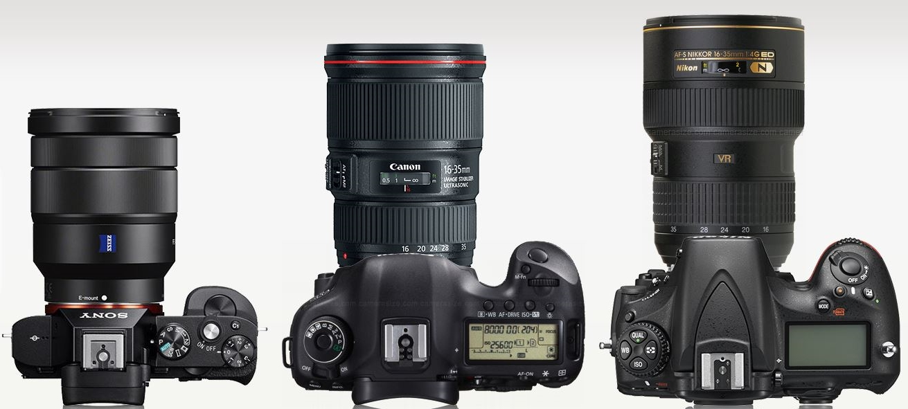 """Size comparison between the Sony 16-35mm on the Sony a7R, Canon 16-35mm on the 5DIII and Nikon 16-35mm on the D800. I was unable to put the Canon or Nikon lens on the a7R with a metabones adapter/novoflex on """"camerasize"""", sokeep in mind the Canon and nikonbodiesarethicker and the mounts aren'tinline with the a7R's mount. Screenshot from, http://camerasize.com"""