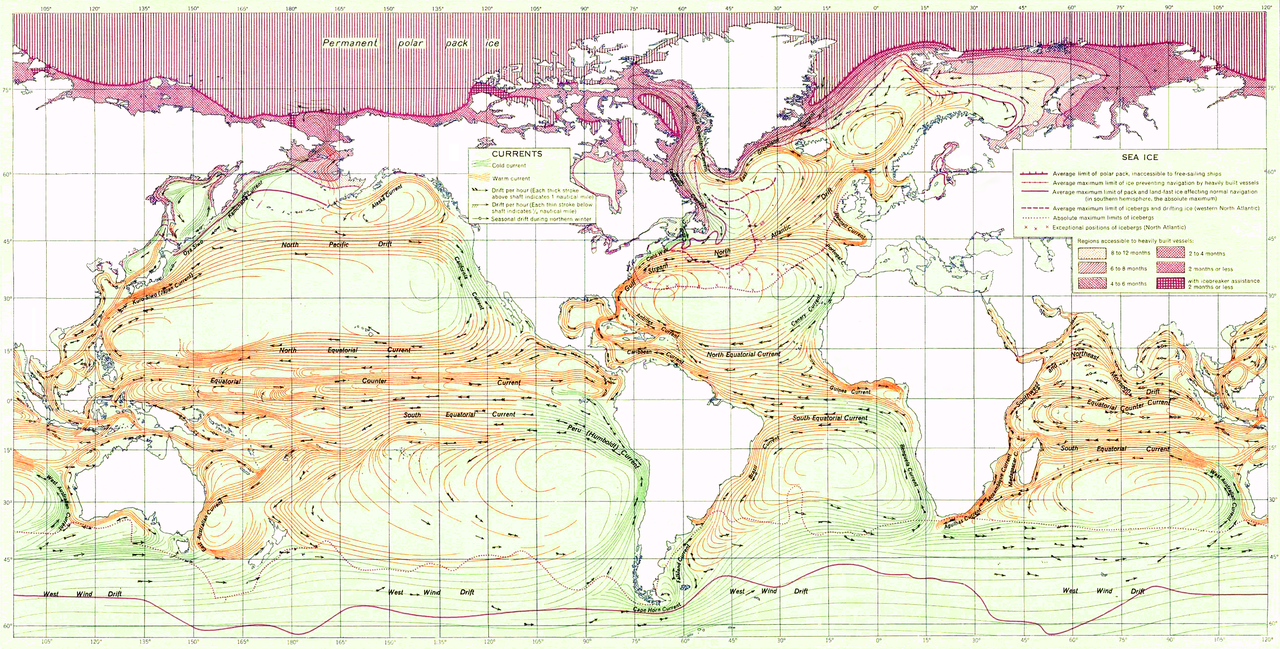 Ocean Currents and Sea Ice from Atlas of World Maps, United States Army Service Forces, Army Specialized Training Division. Army Service Forces Manual M-101 (1943).