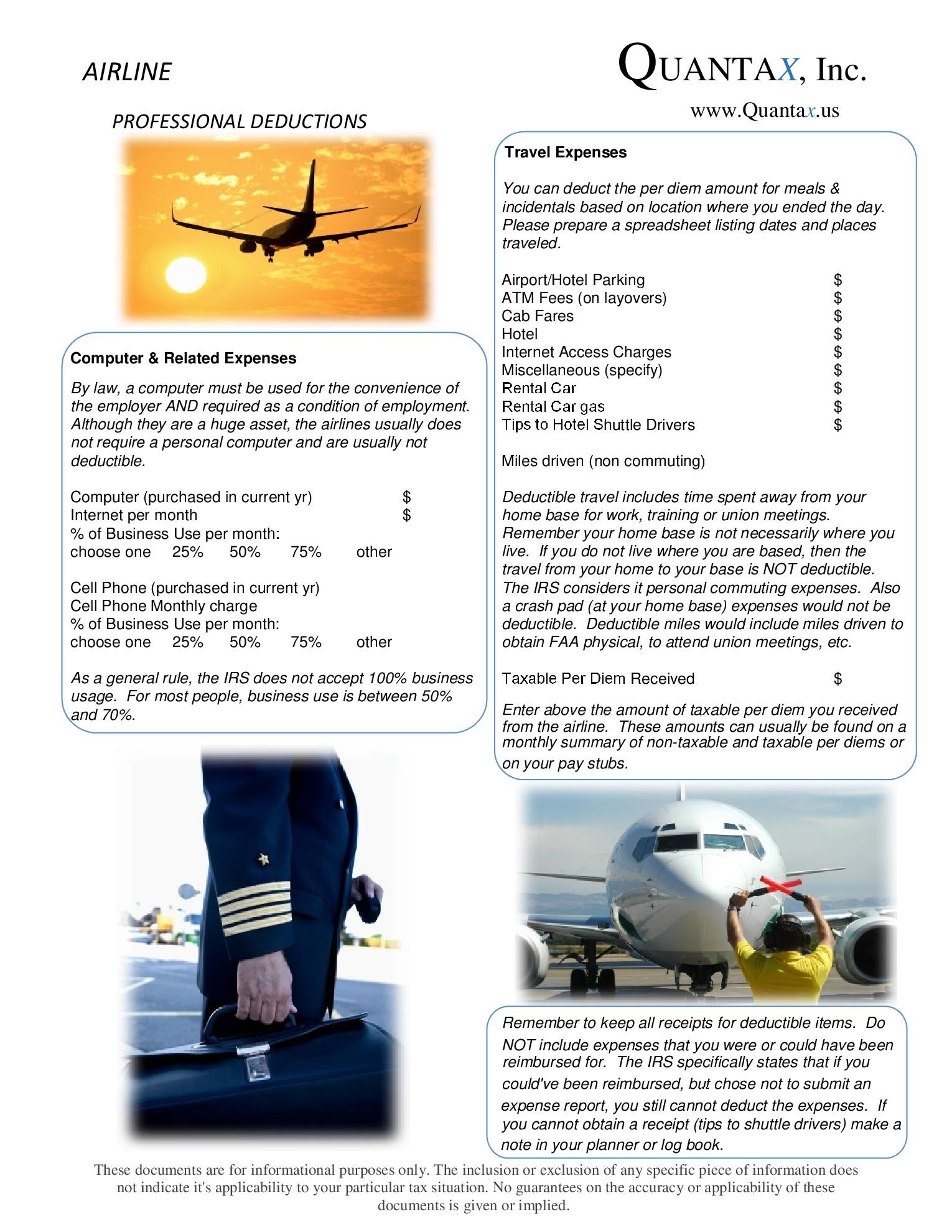 Airline Employee Worksheet
