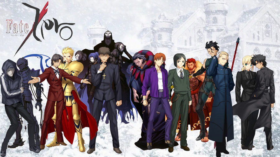 Characters, from Left to right:  Kariya Matou and The Black Knight (Berserker), Tokiomi Tohsaka   and Gilgamesh (Archer),    Kirei Kotomine and the         H assan-i Sabbah (The Assassins),   Gilles de Rais (Caster) and   Ryūnosuke Uryū , Waver Velvet and Alexander the Great (Rider),   Diarmuid Ua Duibhne (Lancer)  and Kayneth Archibald, and King Arthur/Arturia Pendragon (Saber) and    Kiritsugu Emiya.