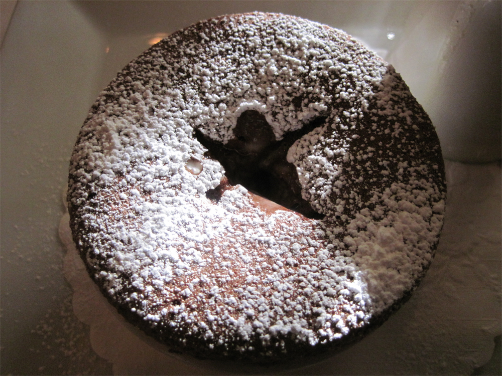 chocolate souffle at the hotel healdsburg
