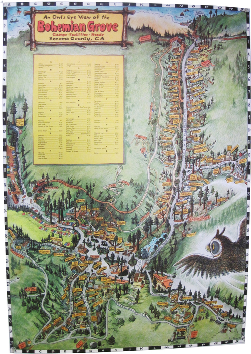 vintage map of bohemian grove, monterio
