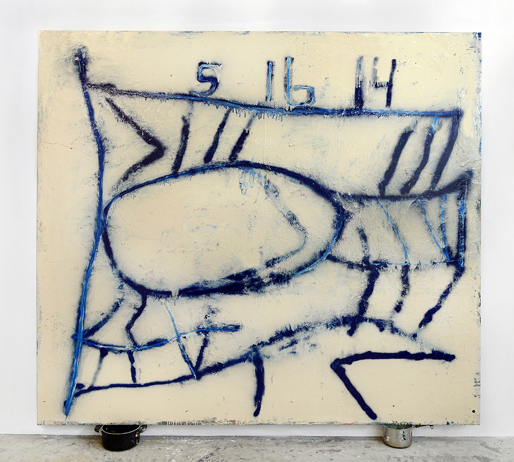 Kyle Goldbach | 51614 , 2014, enamel on canvas/pots, 96 x 78 inches