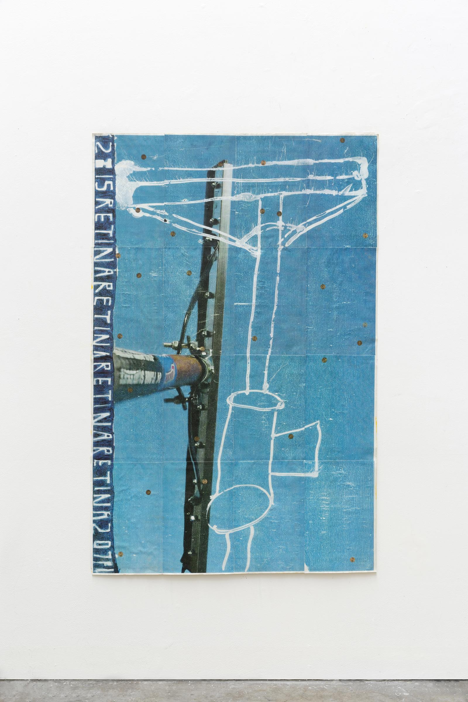 Kyle Goldbach | Retina Retina Retina , 2015, toner and acrylic on paper, 44'' x 68''