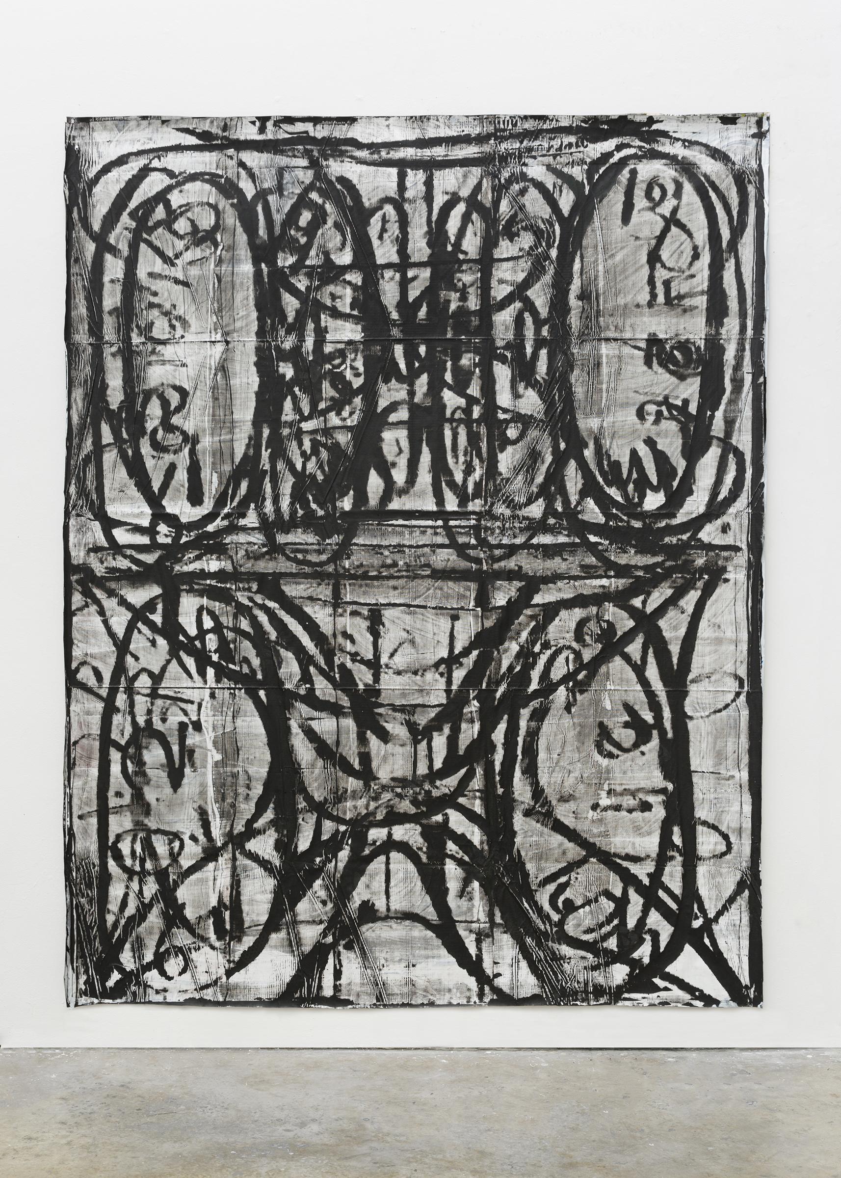 "Kyle Goldbach | Untitled (palimpsest panel) , 2015, acrylic on rip-resistant billboard vinyl, 92"" x 78"""