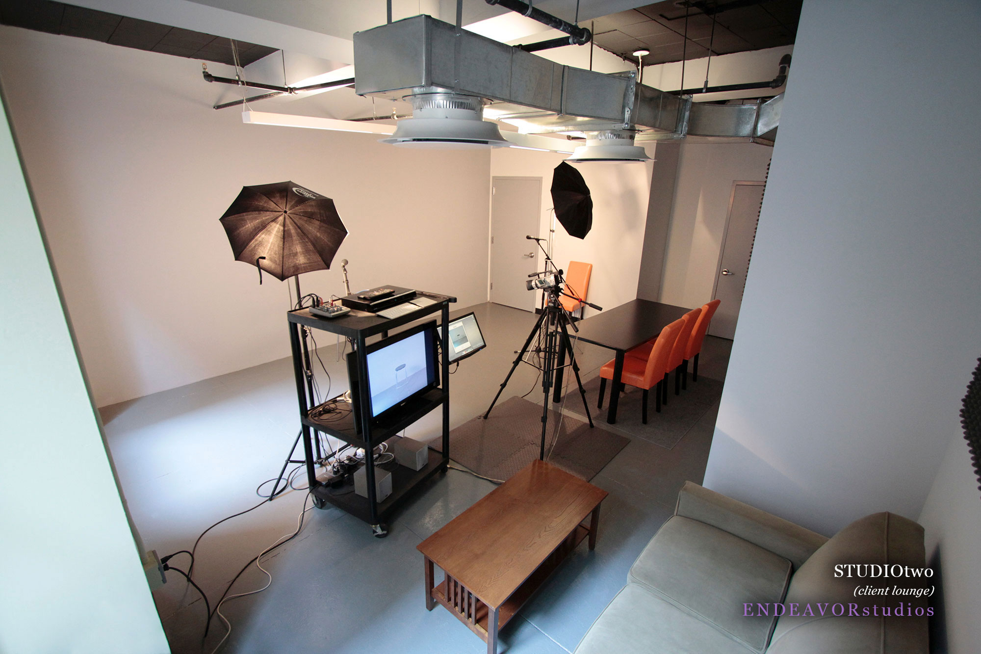 """- Film & TV19 x 21 furnished on-camera studioCamera & lighting equipment32"""" viewing monitorClient table & couchWindow wall"""