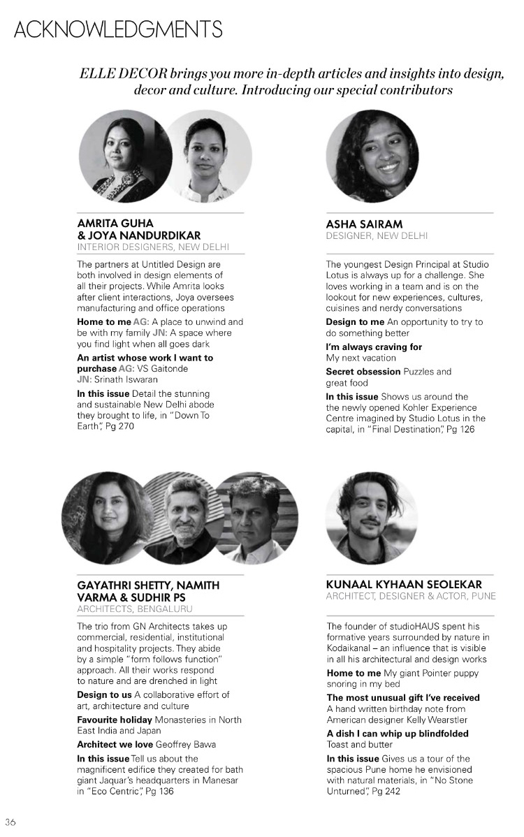 Elle Decor India  | Kunaal Kyhaan Seolekar | Acknowledgements