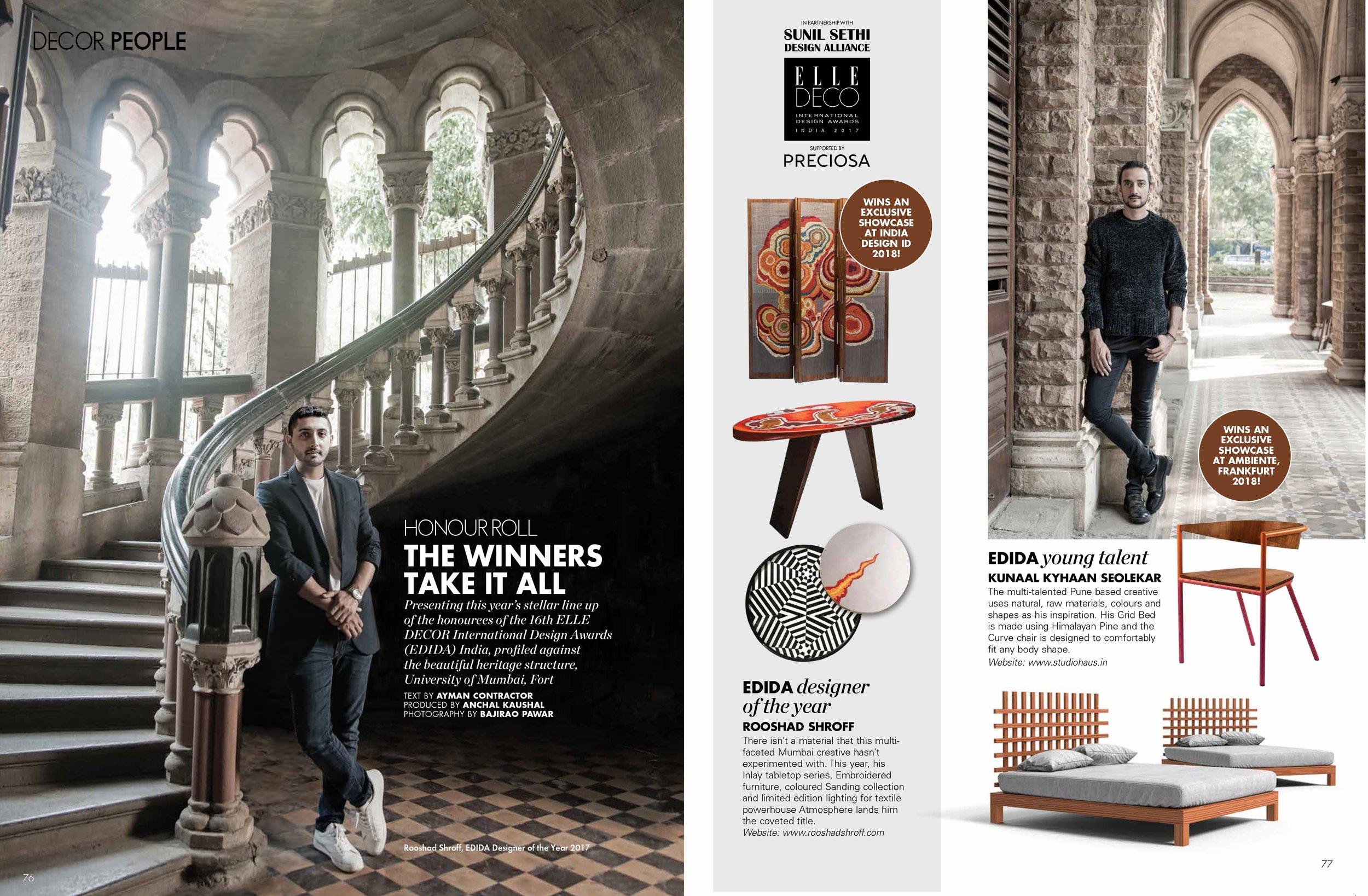 ELLE Decor |  EDIDA Winners  |  Kunaal Kyhaan Seolekar