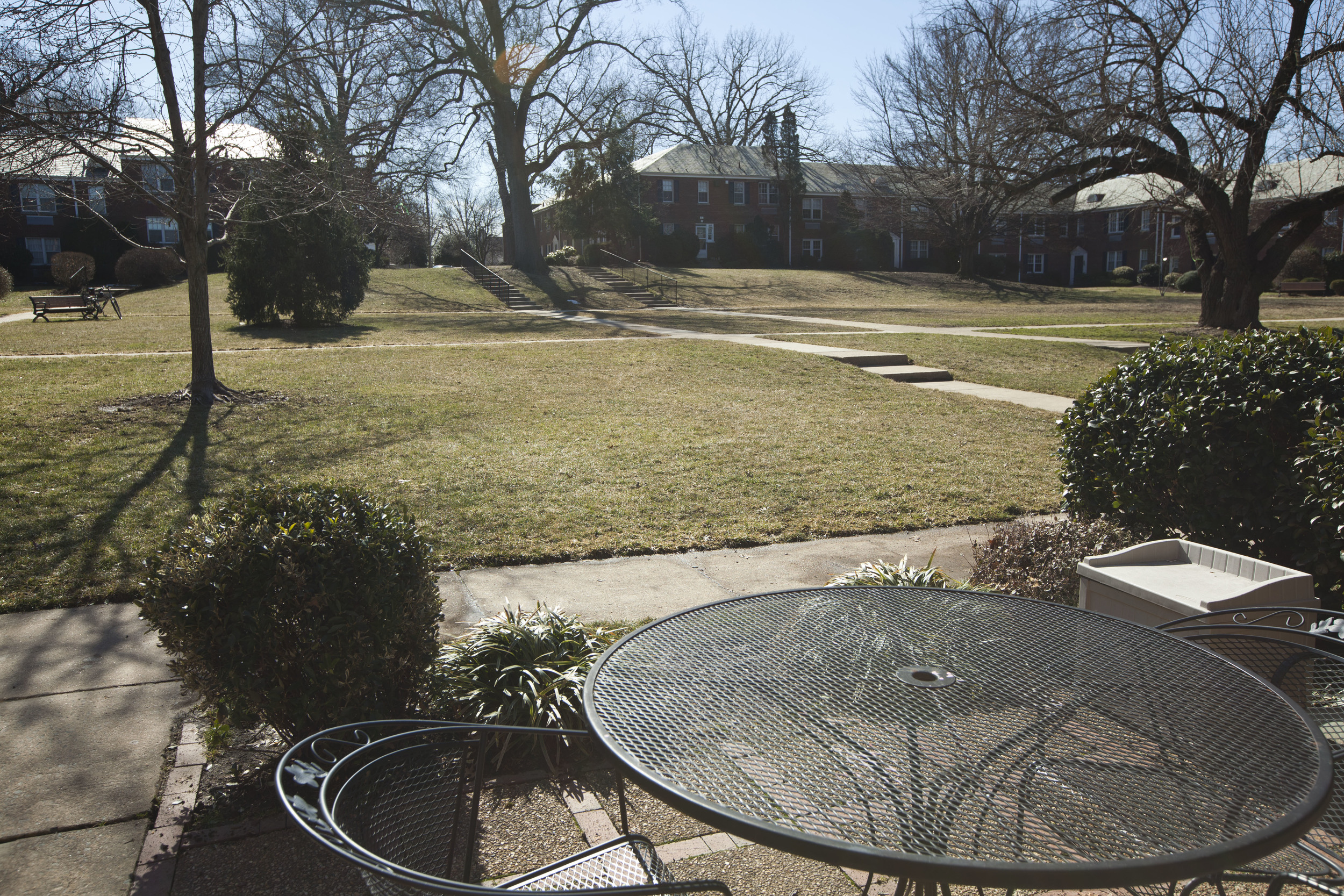 Patio area and proximity to large, fenced court yard.
