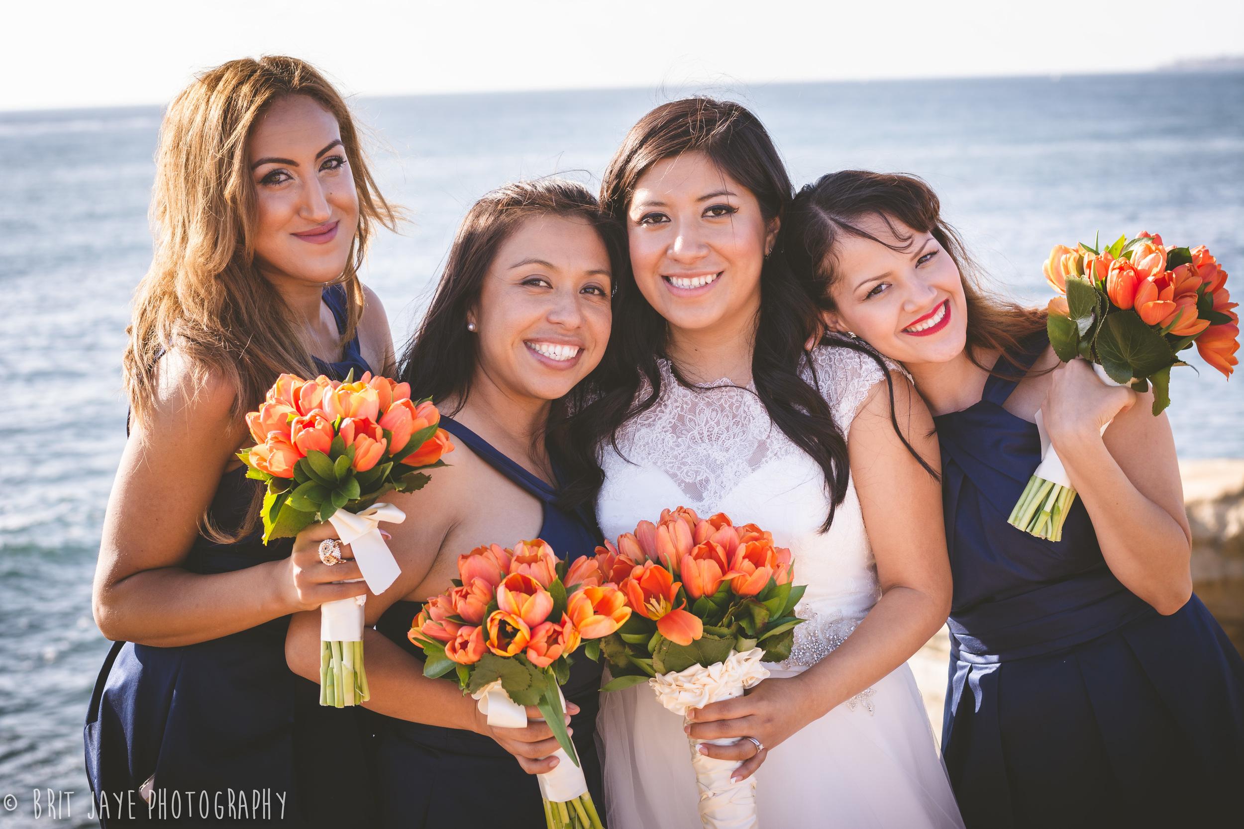 BridesmaidsSunsetCliffsWedding