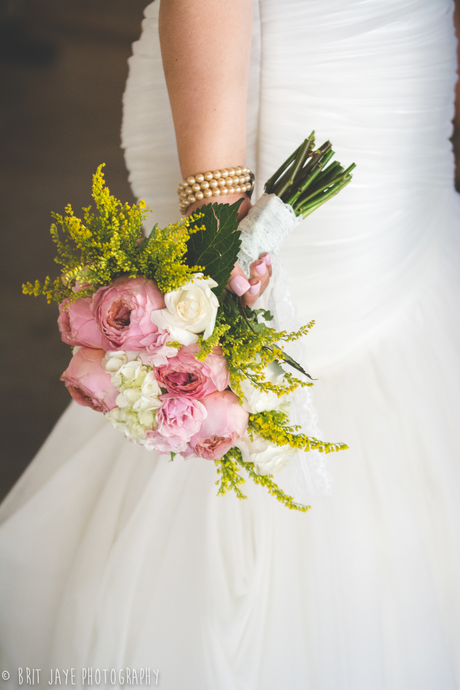 Rustic Chic Pink and Yellow Bouquet