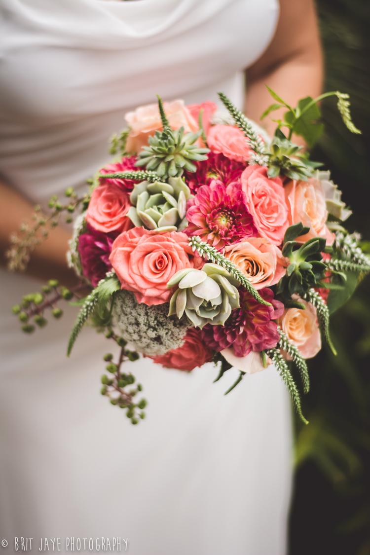 Coral and Mint Succulent Bouquet