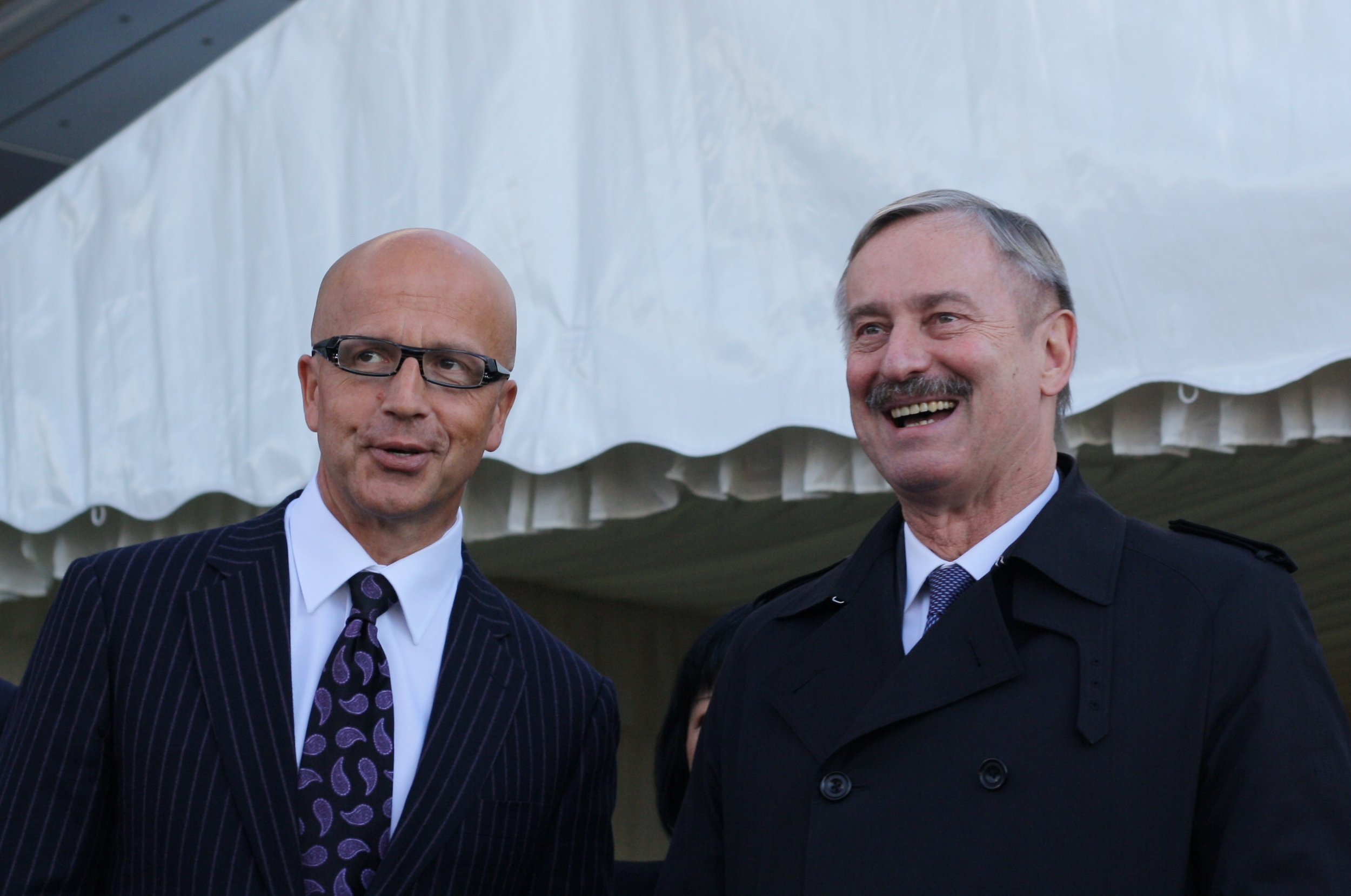 Commissioner Siim Kallas (right) andRail Baltic European Coordinator Pavel Telička at the TEN-T Days in Tallinn in October 2013. Photo: Dima Stepanchuk.
