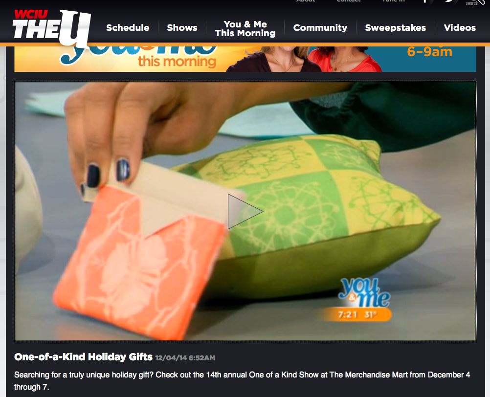 Iron Gate Lemon-Lime Mini Pillow and Lotus orange Pocket Snappy Bag by Shawn Sargent Designs as seen on WCIU/TheU