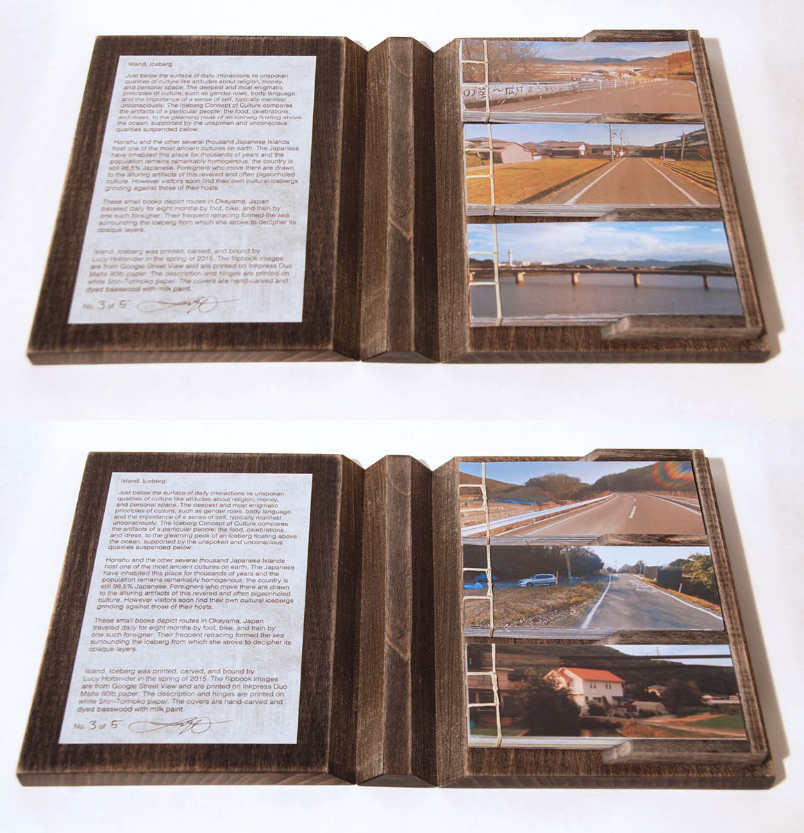 On top, flip books with side one facing up. Below, flip books with side two facing up. The letterpress printed description and colophon can be seen to the left.