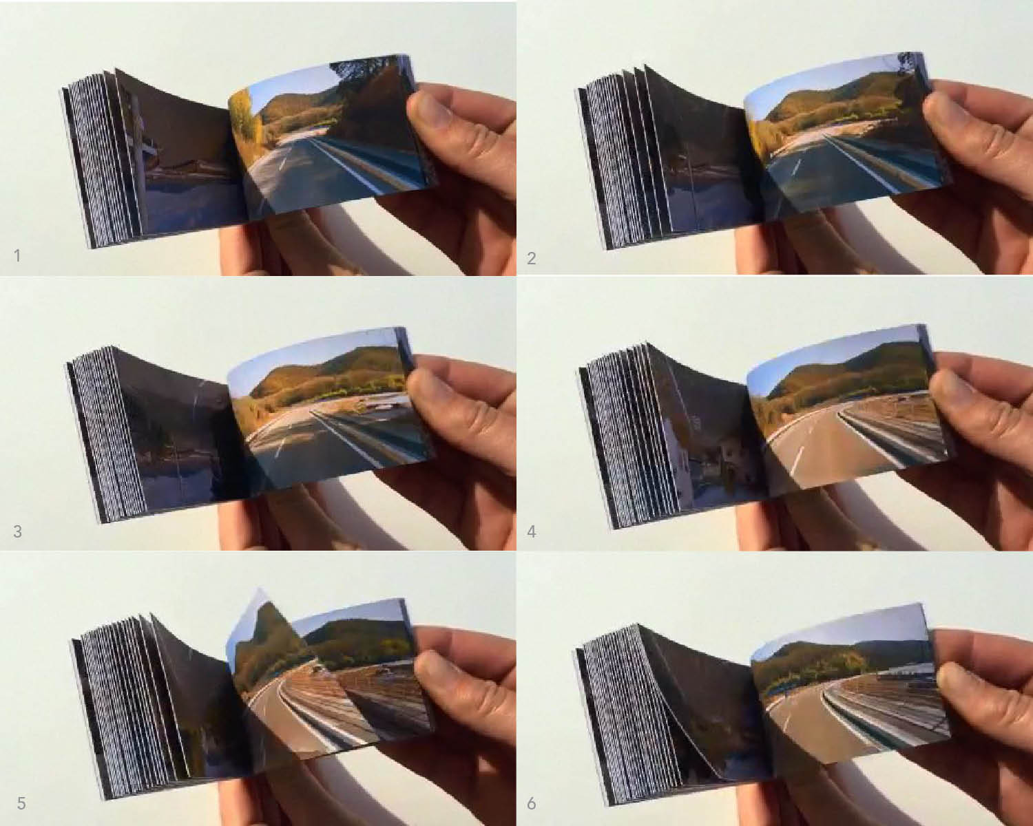 Stills from a movie showing the progression of Google map images in one of the flip books