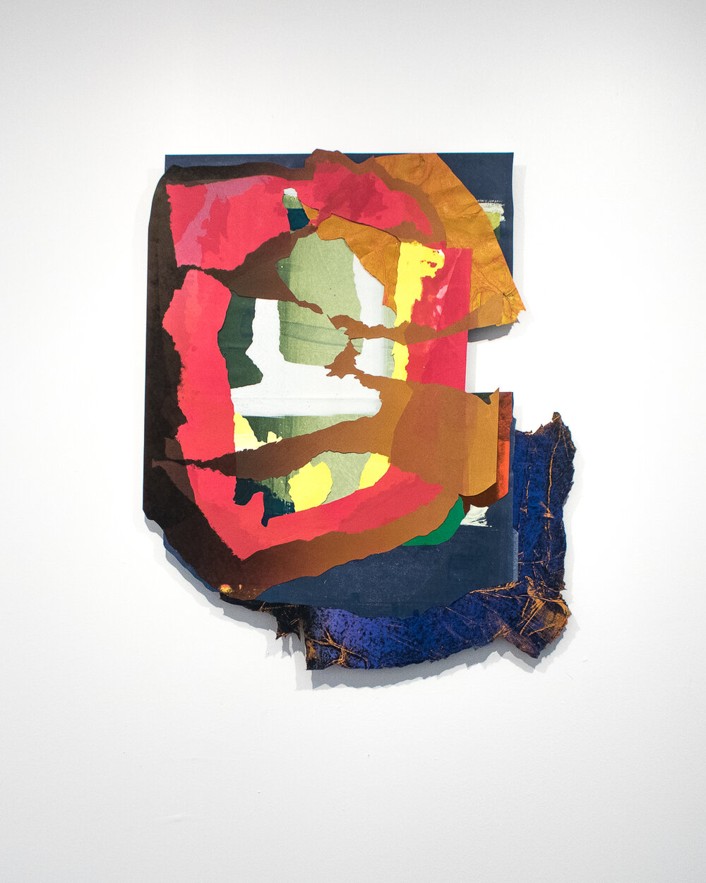 """Gypsum   23 x 27""""  Monotype print collage on handmade and French paper"""
