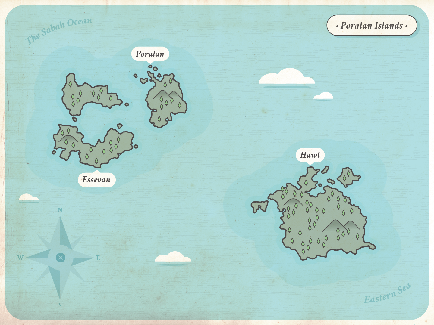 Poralan is the name of the home my main protagonist. It is a stilted town over a coral atoll. A small, zoomed-in area of the world.
