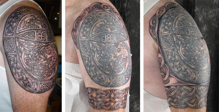 An illuminated letter evolves into a half-sleeve tattoo.