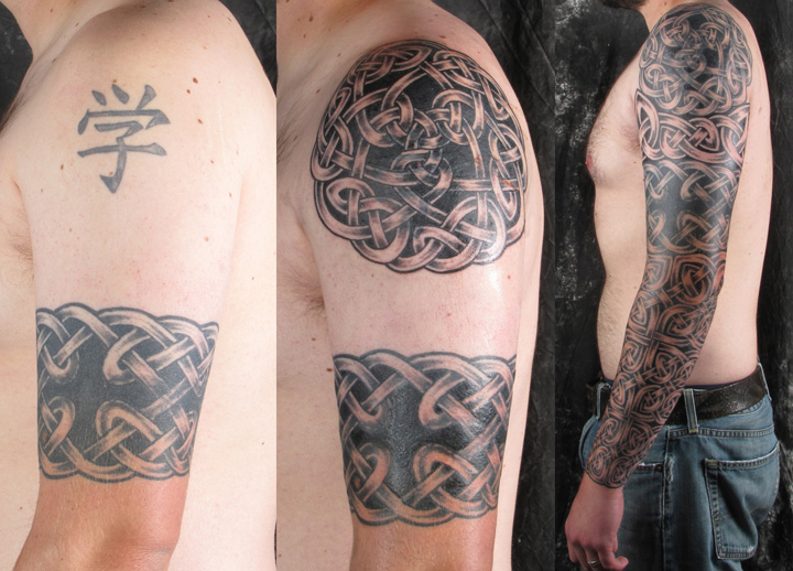 Here a full Celtic Sleeve progresses from the original Coverup
