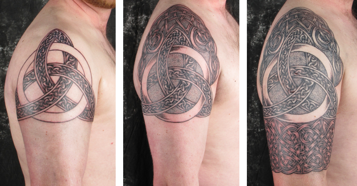 Celtic Trinity half sleeve tattoo in stages