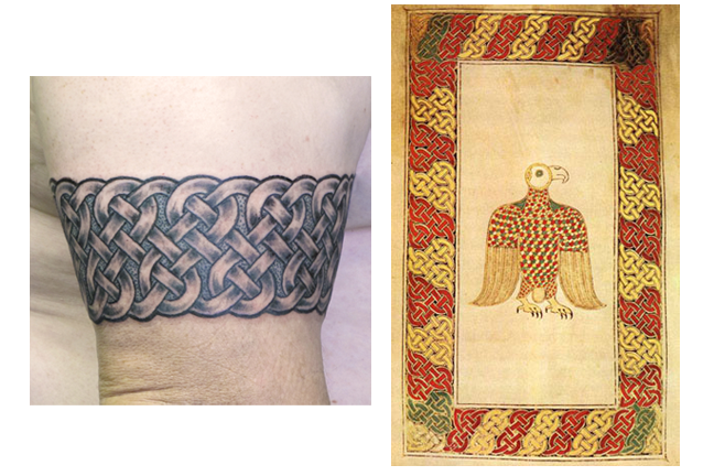 "This  ""Triple Loop Band""  Tattoo by Pat FIsh comes from the border of Folio 84 verso of the Book of Durrow."
