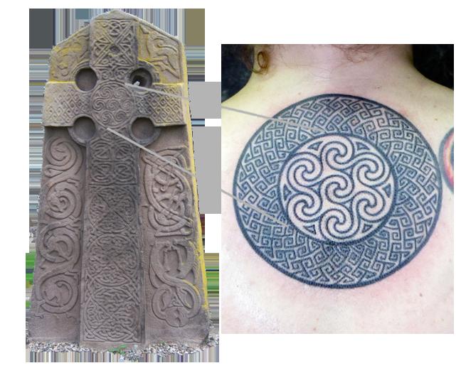 Stone Cross Slab -Aberlemno, Scotland and Tattoo by Pat Fish