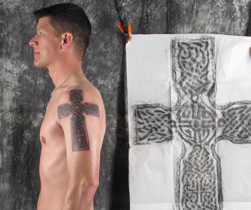 A Celtic Cross Tattoo Based on a Grave Rubbing  by Pat Fish