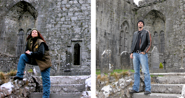 Pat Fish  and  Colin Fraser  in the graveyard at the ruins of Quin Abbey, County Clare, Ireland