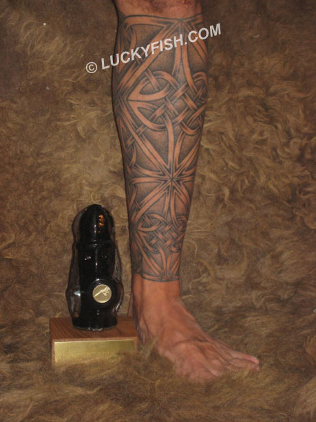 Complete Celtic Knotwork Leg Wrap Tattoo and award from  Stockholm Ink Bash