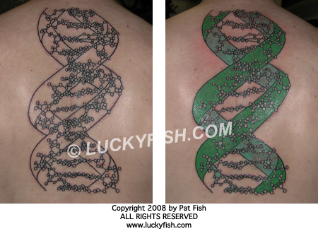 Here are the original photos, taken while the tattoo was in progress and at its conclusion:.