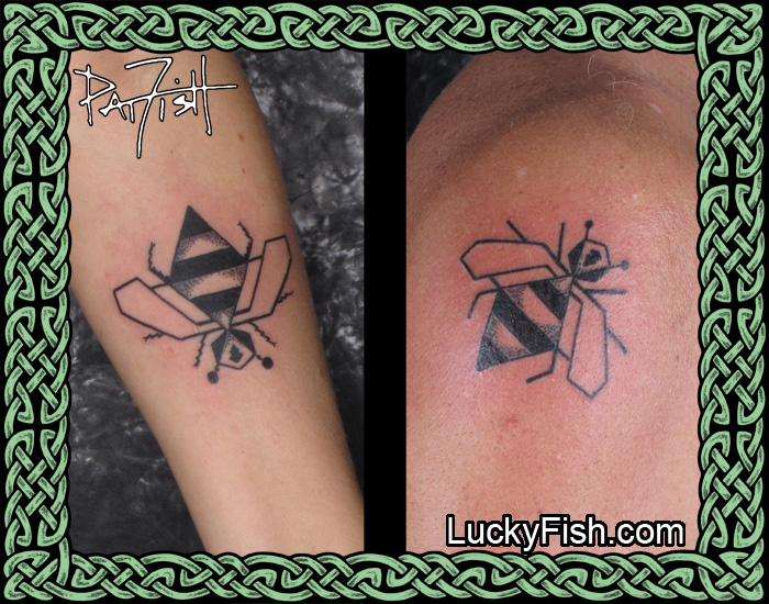 """Matched Pair of """"Techno Bee"""" Tattoos by Pat Fish"""