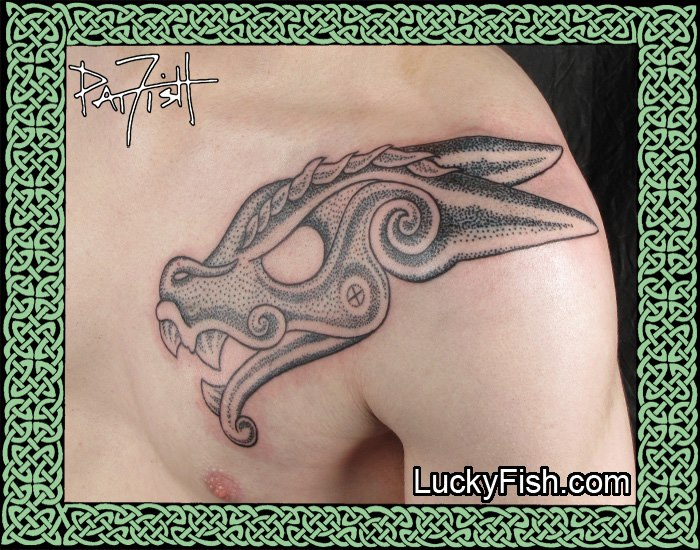 Nordic Style Dragon Head Tattoo by Pat Fish