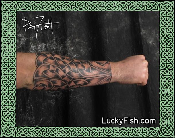 Complete Forearm Coverage Celtic Tattoo by Pat Fish